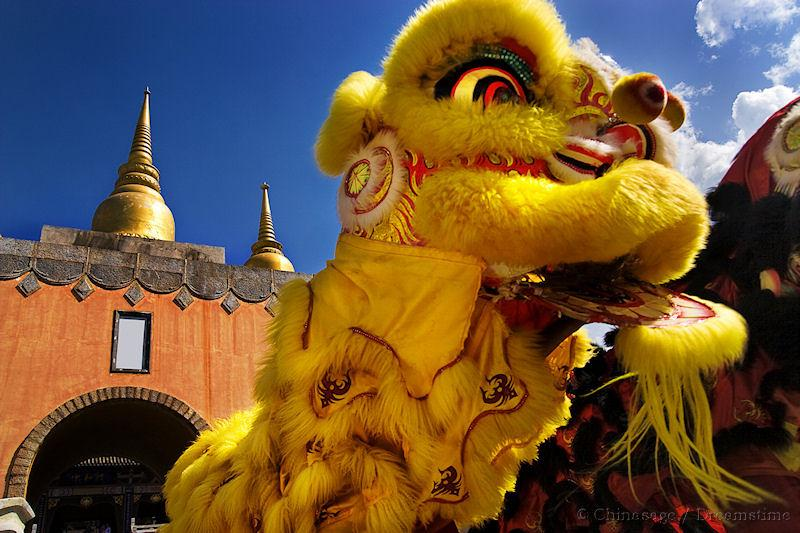 festival, temple, lion dance