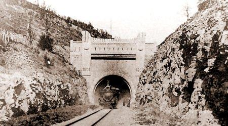 Manchuria, tunnel, railway, steam train