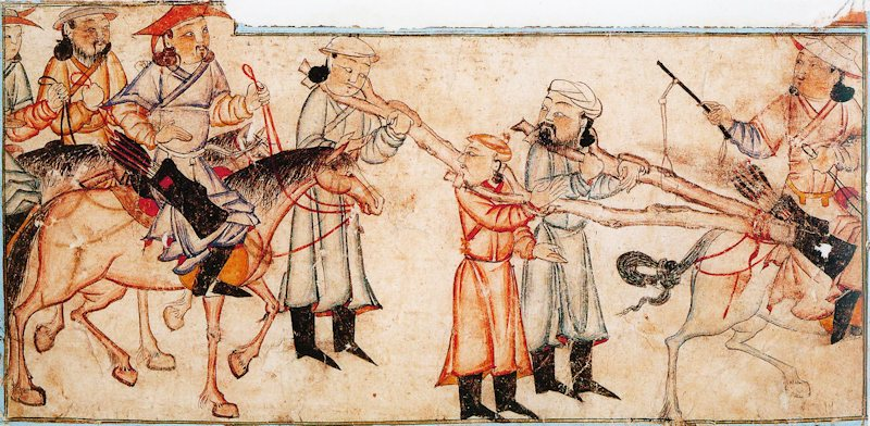 Mongol, prisoners, cangue