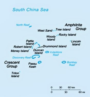 Paracel islands, South China Sea, map