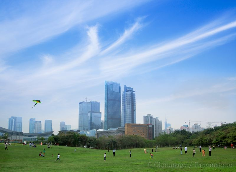 kite, skyscraper, park, people