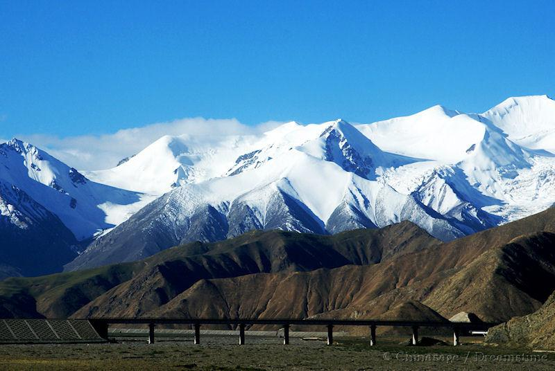 Qinghai, railway, mountains, snow