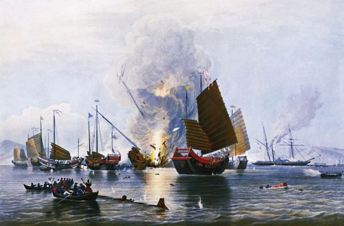 opium war, sea battle, junk, boat, ship