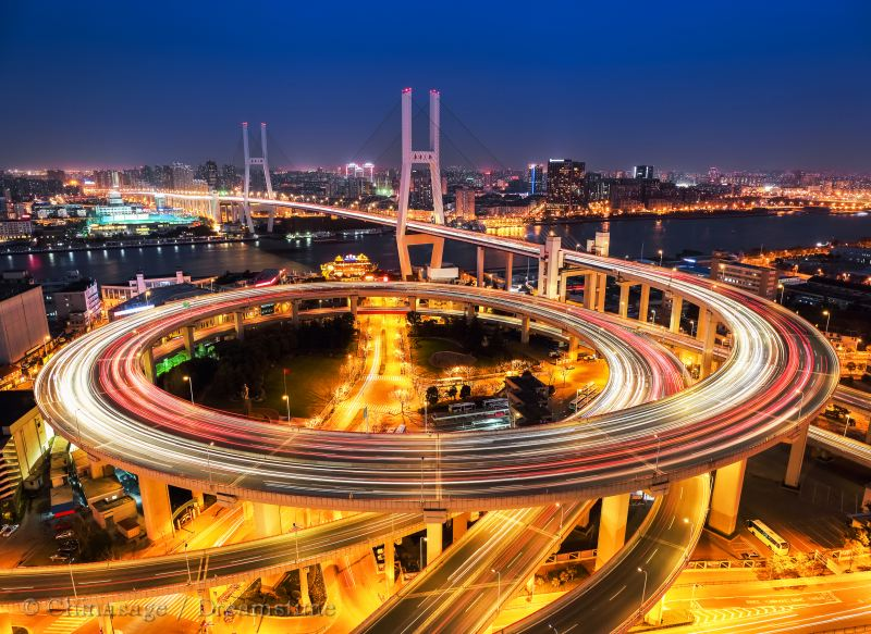 Shanghai, bridge, road, cityscape