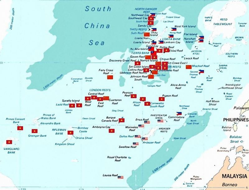 Spratly islands, South China Sea, map