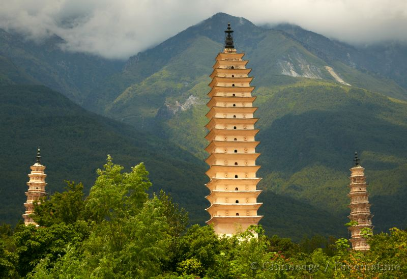 Yunnan, pagoda, mountains