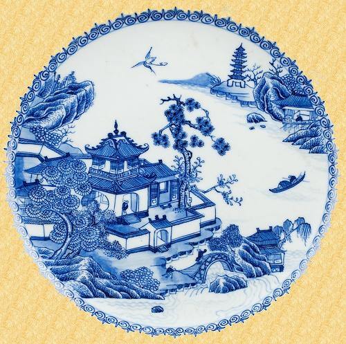 willow pattern,  plate
