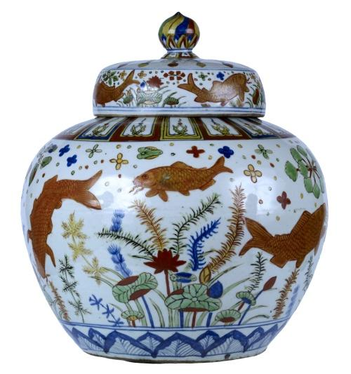 wine jar, carp, lotus