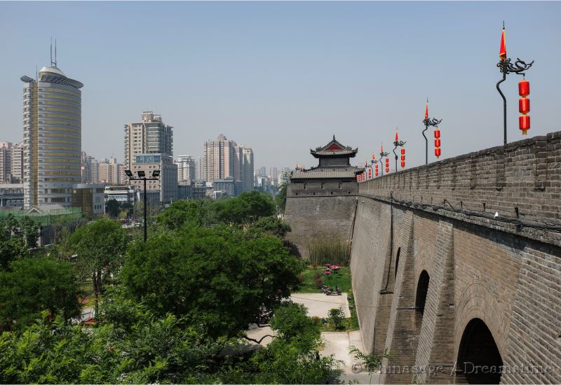 Shaanxi, Xian, modern housing, city wall