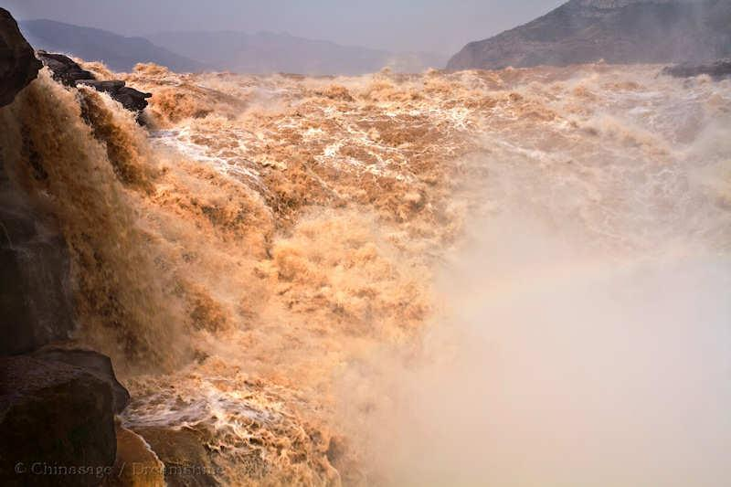 Yellow river, waterfall, river