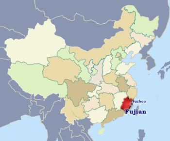 Position of Fujian in China