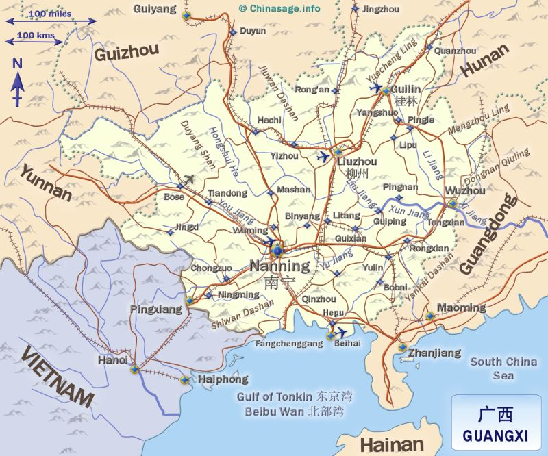 Map of Guangxi,Guangxi province map