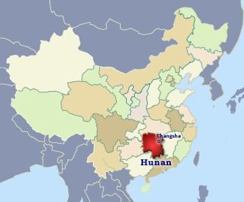Position of Hunan in China