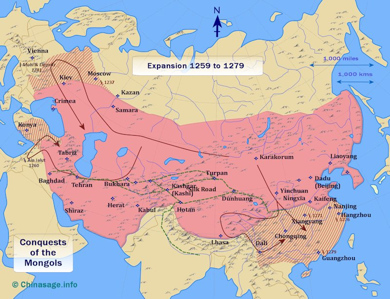 Map of the conquest of the Souther Song 1259-79