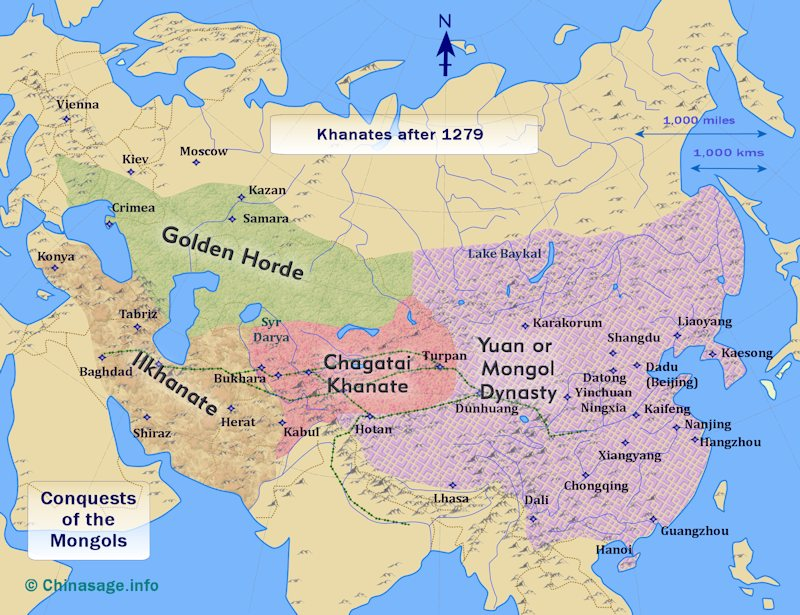 Map of the Four Khanates of the Mongol Empire