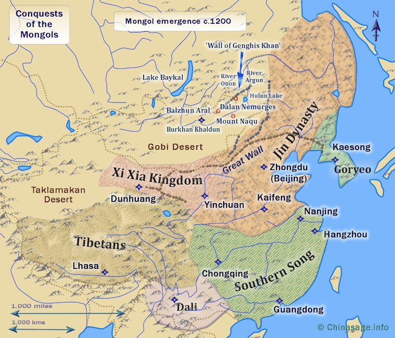 Map of kingdoms before Mongol expansion