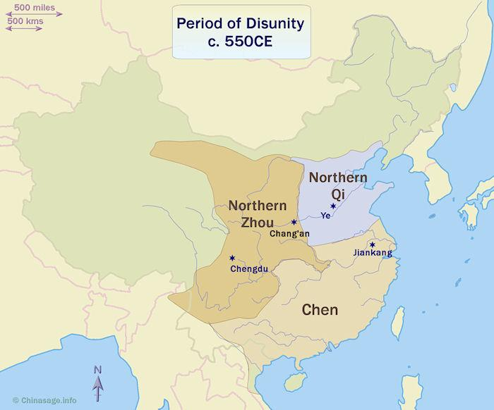 Map of China in the Period of Disunity
