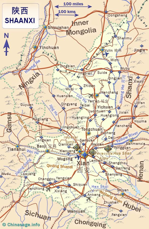 Map of Shaanxi,Shaanxi province map