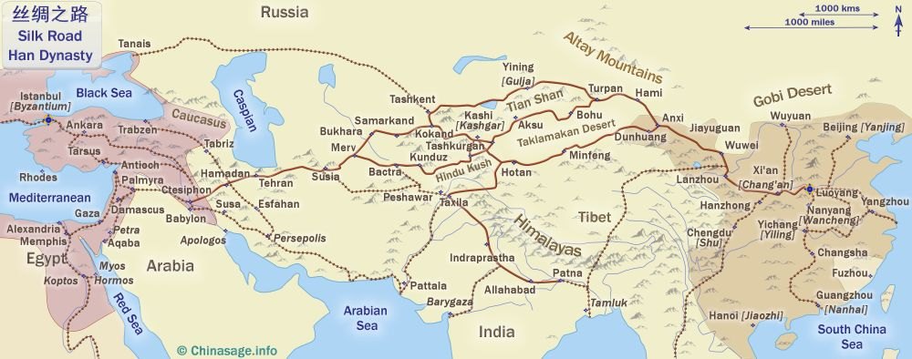 Map of Silk Road to China