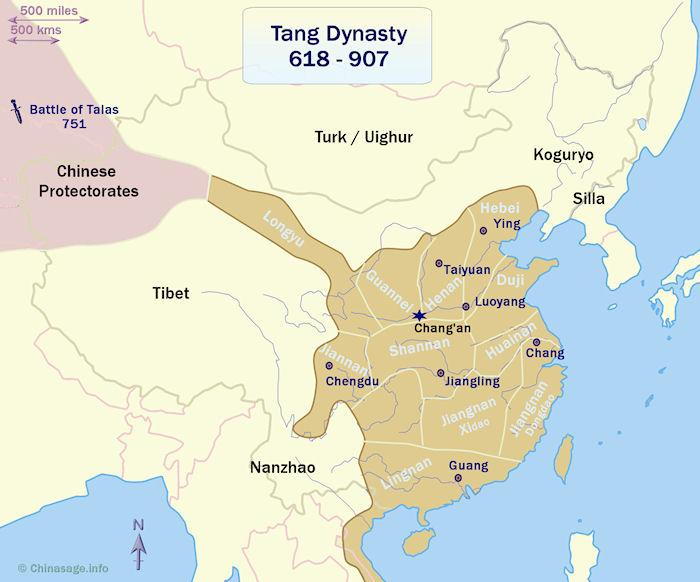 map of China in the Tang dynasty