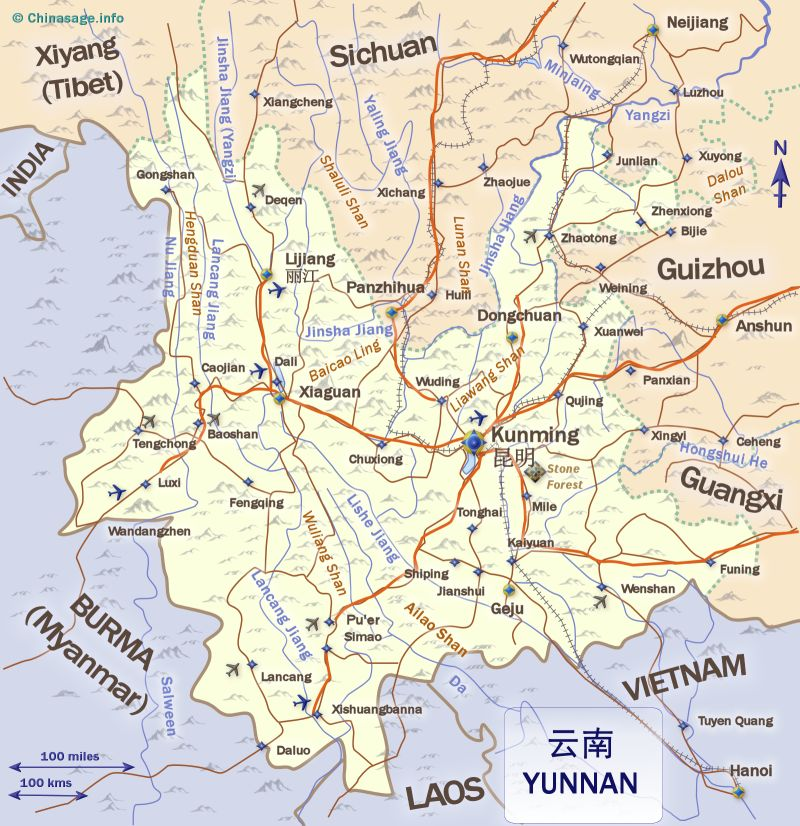 Map of Yunnan,Yunnan province map