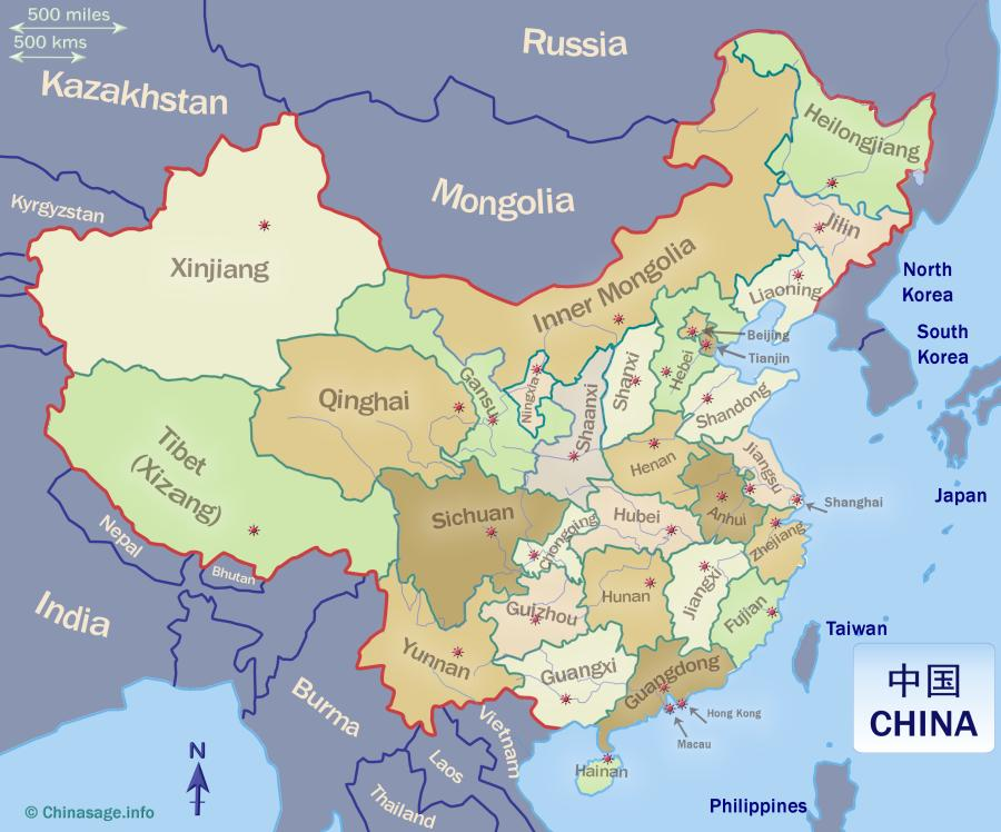 Map of all Chinese provinces